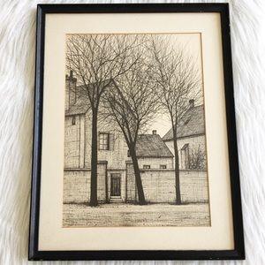 Vintage Minimalist Farmhouse Sketch Framed Art